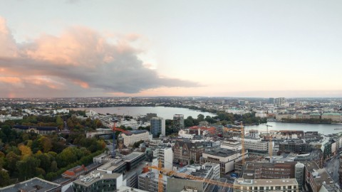 View from EMPORIO on Hamburg at sunset.